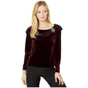 Wine Rhinestone Draped Velvet Blouse Med